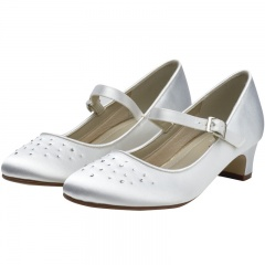 Verity by Rainbow Club White Satin Crystal Shoes