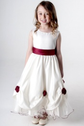 Girls Burgundy & Ivory Rose Satin Tulle Dress