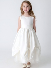 Girls Ivory Rose Satin Tulle Dress