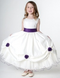 Girls Cadbury Purple & Ivory Rose Satin Tulle Dress