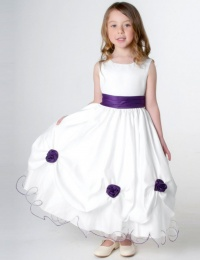 Girls Cadbury Purple & White Rose Satin Tulle Dress
