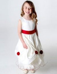 Girls Red & Ivory Rose Satin Tulle Dress