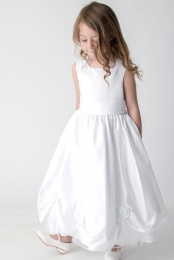 Girls White Rose Satin Tulle Dress