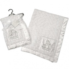 White Rose Fleece Christening Wrap with Cross & Candles