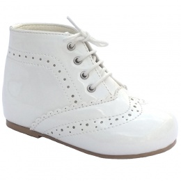 White Patent Brogue Lace Up Boots