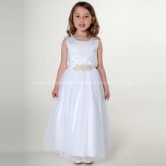 Girls White Organza & Satin Diamante Brooch Dress