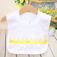 White Cotton Bib with Lace & Lemon Ribbon