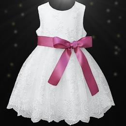 Girls White Floral Lace Dress with Dusky Pink Satin Sash