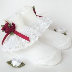 Girls White Lace Socks with Wine Rosebud Cluster
