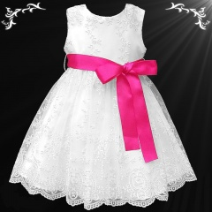 Girls White Floral Lace Dress with Hot Pink Satin Sash