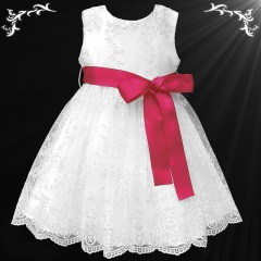 Girls White Floral Lace Dress with Fuchsia Pink Satin Sash