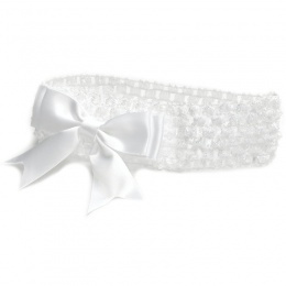 Baby Girls White Crochet Headband with Medium Satin Bow