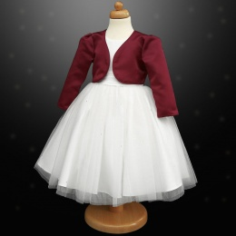Girls White Diamante Organza Dress with Burgundy Bolero Jacket