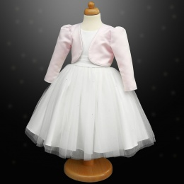 Girls White Diamante Organza Dress with Pink Bolero Jacket