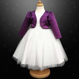 Girls White Diamante Organza Dress with Purple Bolero Jacket