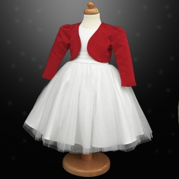 Girls White Diamante Organza Dress with Red Bolero Jacket