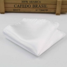 Boys White Satin Pocket Square Handkerchief