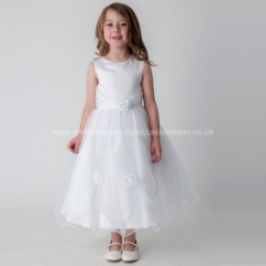 Girls White Diamante Rose & Organza Tulle Dress
