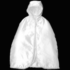 Baby Girls White Satin Lace & Sequin Long Hooded Cape