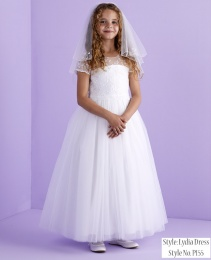 White Lace Bodice Holy Communion Dress - Lydia P155 by Peridot