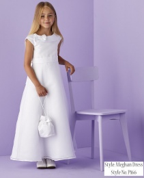 White Bow Collar Holy Communion Dress - Meghan P166 by Peridot