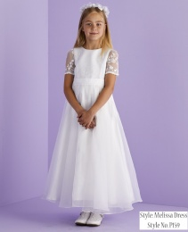 White Lace Sleeve Holy Communion Dress - Melissa P159 by Peridot