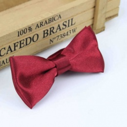 Boys Red Wine Satin Bow Tie with Adjustable Strap