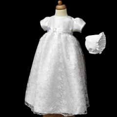 Baby Girls White Diamante Heart & Lace Gown with Bonnet