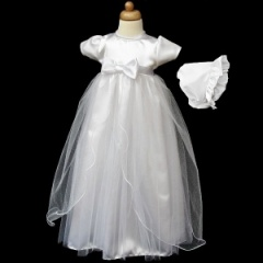 Baby Girls White Satin Bow & Sparkly Organza Gown with Bonnet