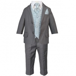 Boys Grey & Blue Swirl 6 Piece Slim Fit Suit