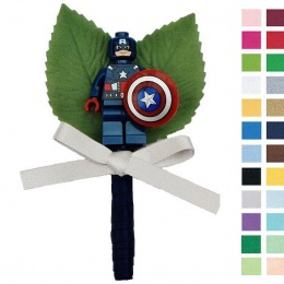 Boys Navy & Silver Buttonhole with Captain America Figure