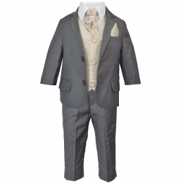 Boys Grey & Champagne Swirl 6 Piece Slim Fit Suit