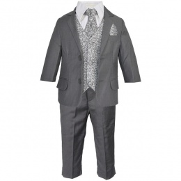 Boys Grey Swirl 6 Piece Slim Fit Suit