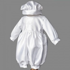 Baby Boys White Dupion Cross Christening Romper & Hat