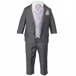 Boys Grey & Lilac Swirl 6 Piece Slim Fit Suit