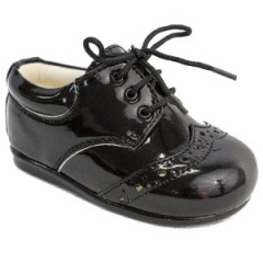 Boys Black Patent Brogue Lace Up Shoes
