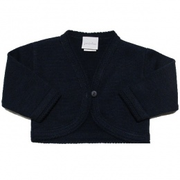 Baby Girls Navy Plain Acrylic Long Sleeved Bolero