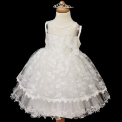 Girls Ivory Diamante & Lace Sweetheart Dress with Tiara