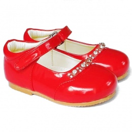 Girls Red Patent Diamante Special Occasion Shoes