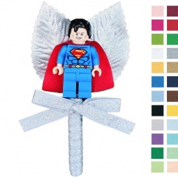 Boys Sparkly Silver Buttonhole with Superman Figure