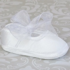 Baby Girls White Organza Bow & Satin Christening Shoes