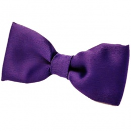 Boys Cadbury Purple Satin Plain Dickie Bow Tie on Elastic