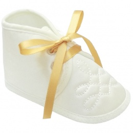 Baby Boys Ivory Satin Gold Ribbon Shoes