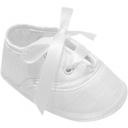 Baby Boys White Dupion Lace Up Christening Shoes