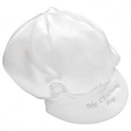 Baby Boys White Satin My Christening Day Cap Hat
