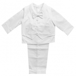 Baby Boys White Satin Christening Cross Suit