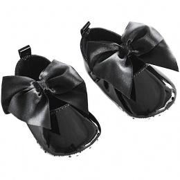 Baby Girls Black Patent Satin Bow Pram Shoes