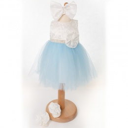 Baby Girls Blue & Ivory Tulle Dress, Headband & Shoes