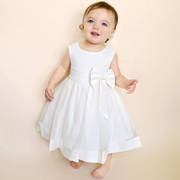 Baby Girls Ivory Bow Organza Christening Dress