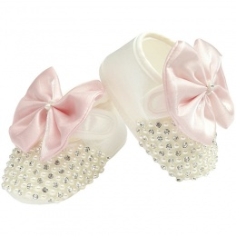 Baby Girls Ivory Satin Pink Bow Shoes with Diamante & Pearls